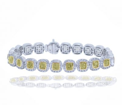 Yellow and White Diamond Halo Bracelet