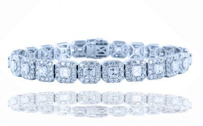 Asscher Diamond Halo Bracelet