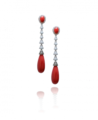vintage coral and diamond earrings
