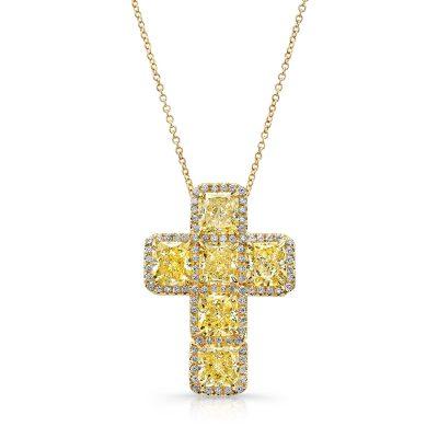 Winston-Diamond-Cross-Pendant-Yellow-0012
