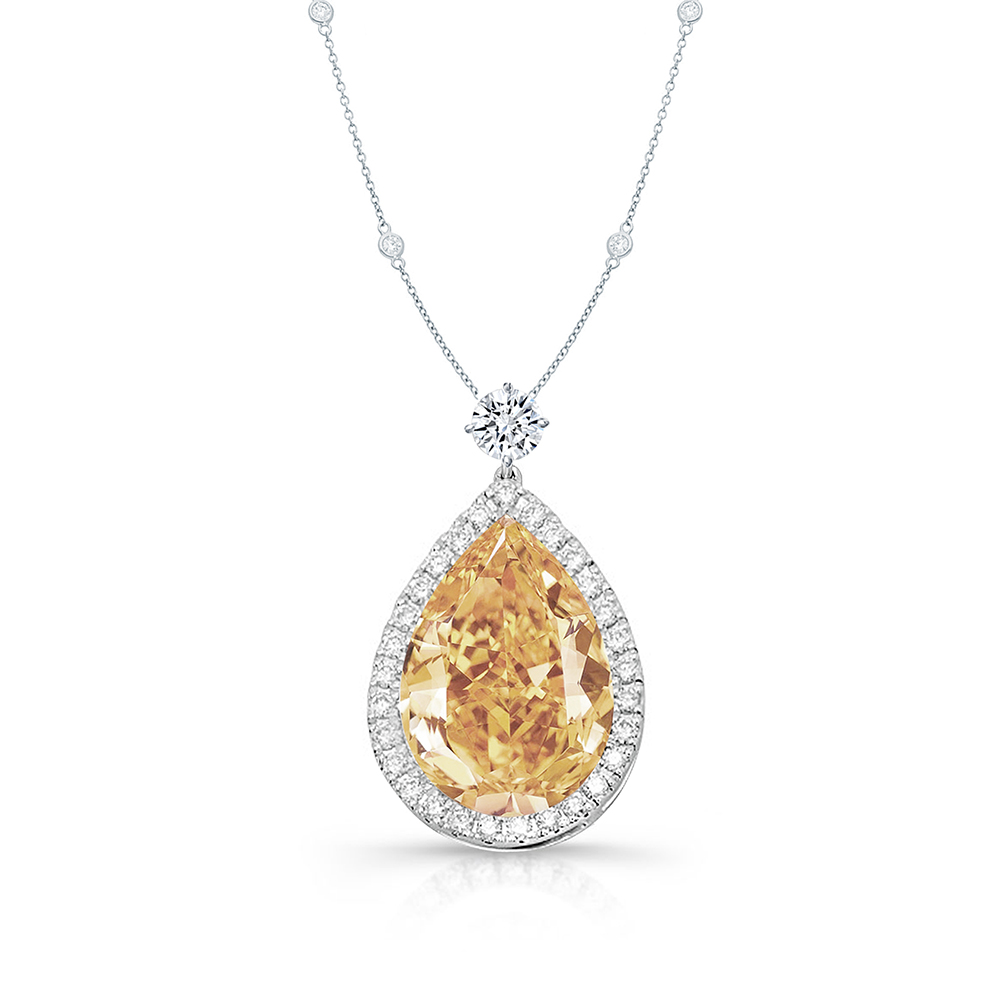 Large pear-shaped champaign diamond necklace
